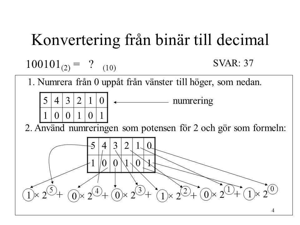 4 Konvertering från binär till decimal 100101 (2) = ? (10) 1. Numrera från 0 uppåt från vänster till höger, som nedan. 2. Använd numreringen som poten