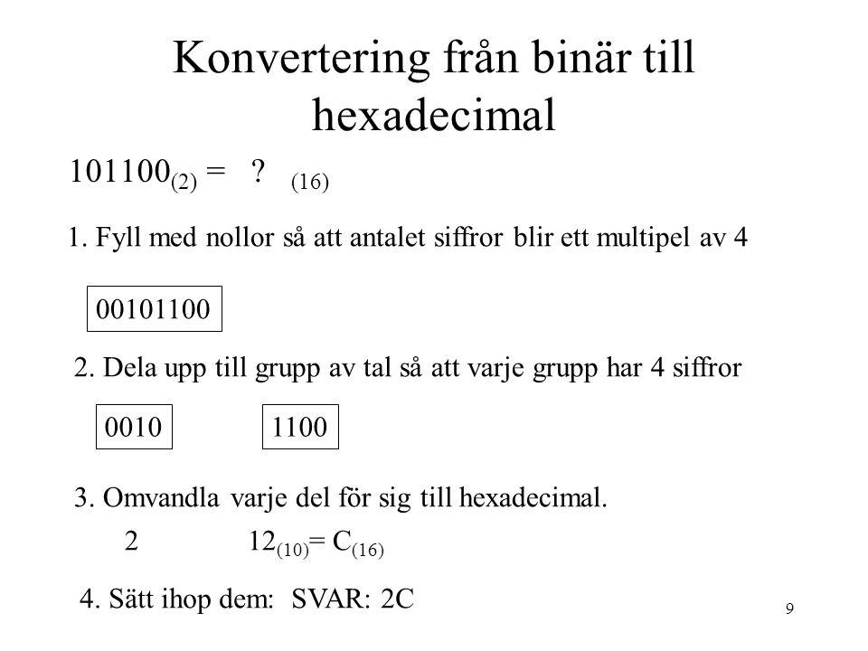 9 Konvertering från binär till hexadecimal 101100 (2) = ? (16) 1. Fyll med nollor så att antalet siffror blir ett multipel av 4 00101100 2. Dela upp t