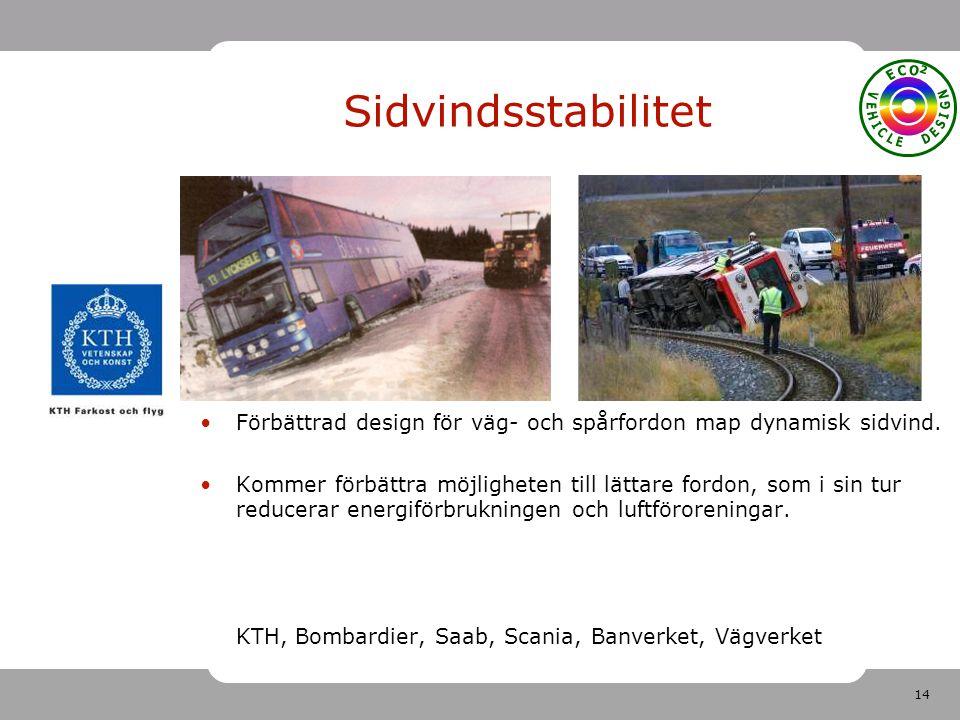 14 Sidvindsstabilitet Förbättrad design för väg- och spårfordon map dynamisk sidvind. Kommer förbättra möjligheten till lättare fordon, som i sin tur