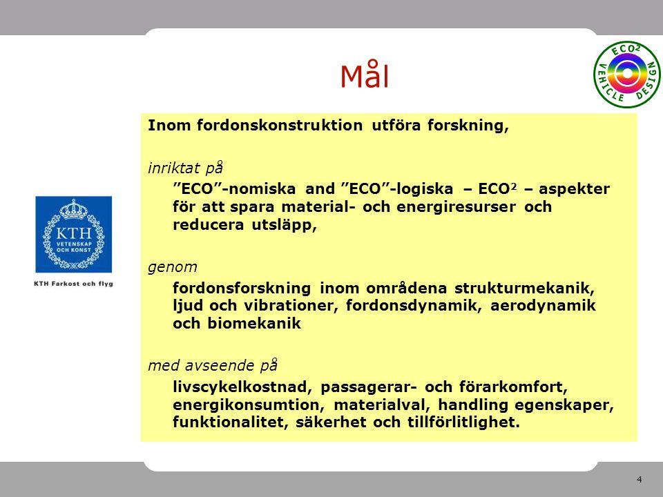 4 Mål Inom fordonskonstruktion utföra forskning, inriktat på ECO -nomiska and ECO -logiska – ECO 2 – aspekter för att spara material- och energiresurser och reducera utsläpp, genom fordonsforskning inom områdena strukturmekanik, ljud och vibrationer, fordonsdynamik, aerodynamik och biomekanik med avseende på livscykelkostnad, passagerar- och förarkomfort, energikonsumtion, materialval, handling egenskaper, funktionalitet, säkerhet och tillförlitlighet.