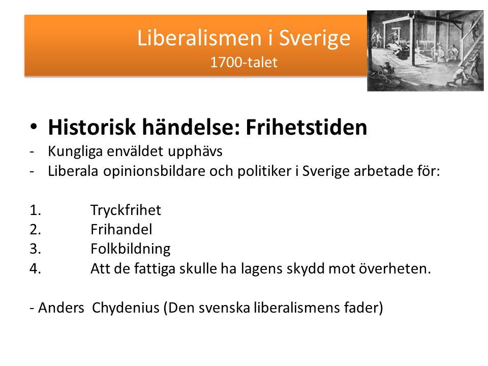 Liberalismen i Sverige 1700-talet Historisk händelse: Frihetstiden -Kungliga enväldet upphävs -Liberala opinionsbildare och politiker i Sverige arbeta