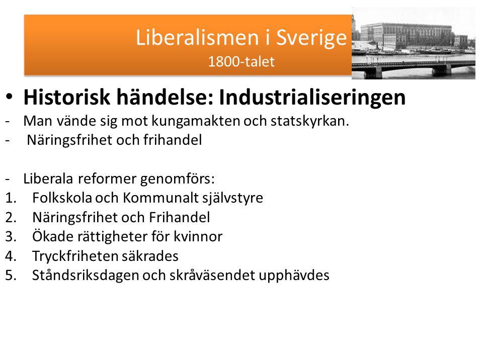 Liberalismen i Sverige 1800-talet Historisk händelse: Industrialiseringen -Man vände sig mot kungamakten och statskyrkan. - Näringsfrihet och frihande