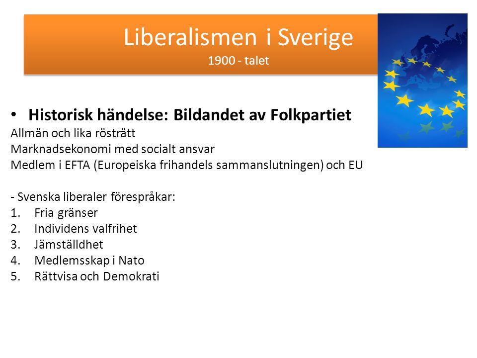 Liberalismen i Sverige 1900 - talet Historisk händelse: Bildandet av Folkpartiet Allmän och lika rösträtt Marknadsekonomi med socialt ansvar Medlem i