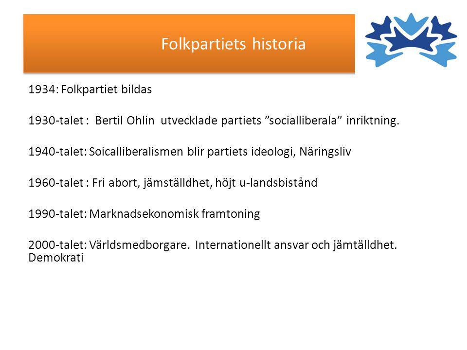 """Folkpartiets historia 1934: Folkpartiet bildas 1930-talet : Bertil Ohlin utvecklade partiets """"socialliberala"""" inriktning. 1940-talet: Soicalliberalism"""