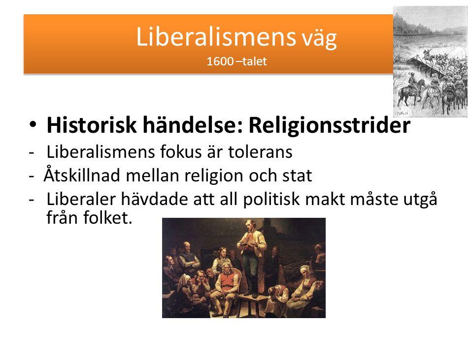 Liberalismens väg 1600 –talet Historisk händelse: Religionsstrider -Liberalismens fokus är tolerans - Åtskillnad mellan religion och stat -Liberaler h