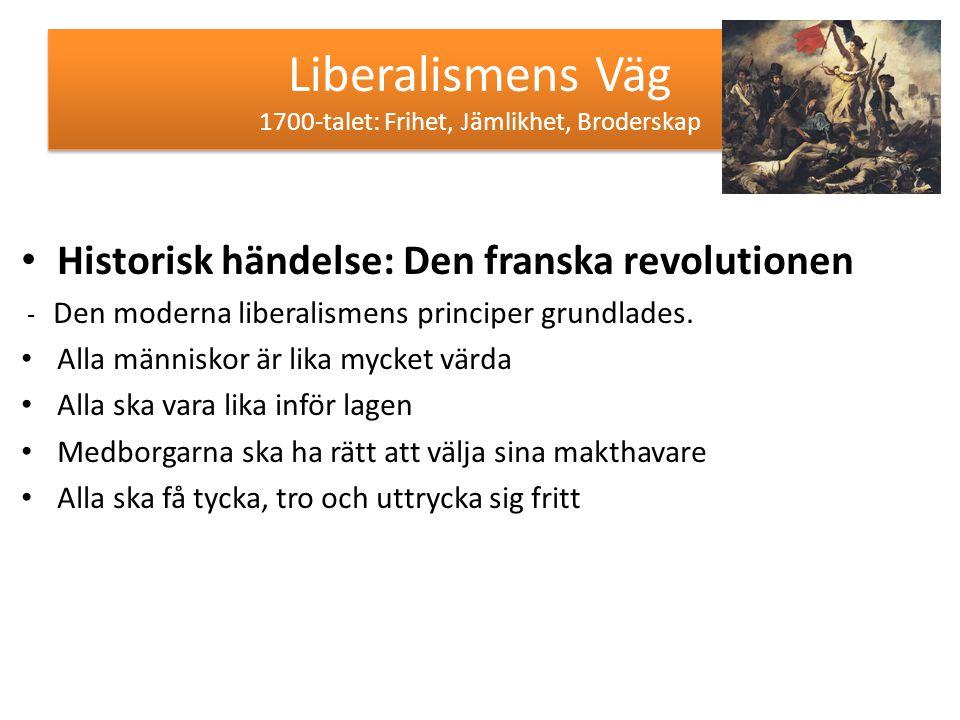 Liberalismens Väg 1700-talet: Frihet, Jämlikhet, Broderskap Historisk händelse: Den franska revolutionen - Den moderna liberalismens principer grundla