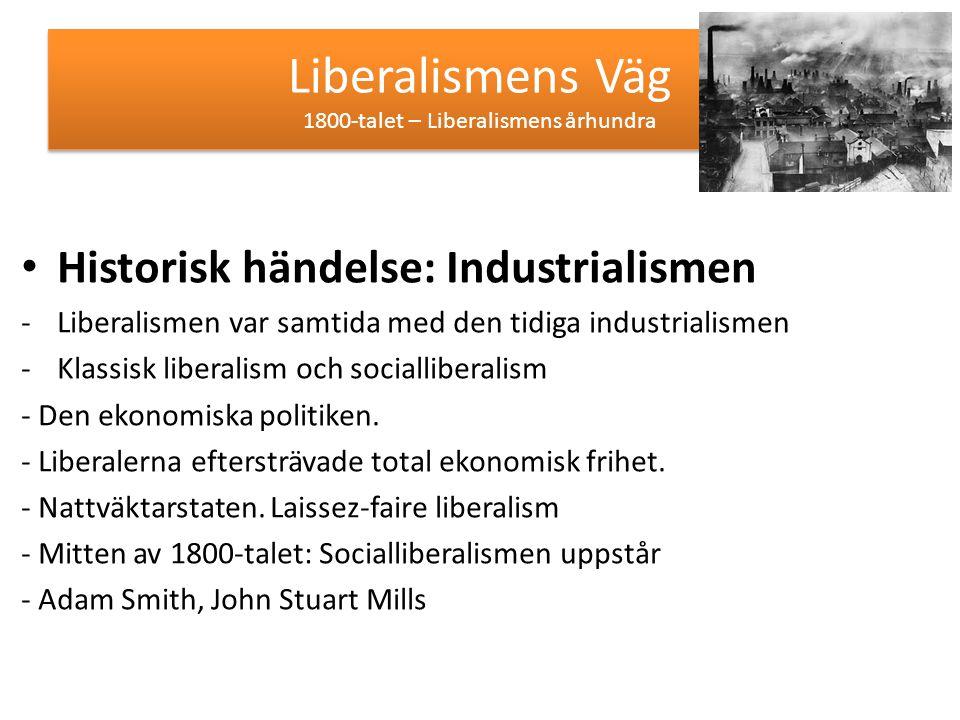 Liberalismens Väg 1900-talet Historisk händelse: 1:a och 2:a Världskriget -Socialliberalism - Ett fritt samhälle och en fri marknad - Ett öppet samhälle som inte styrs ovanifrån -Värdet i demokratin, yttrandefriheten och religionsfriheten