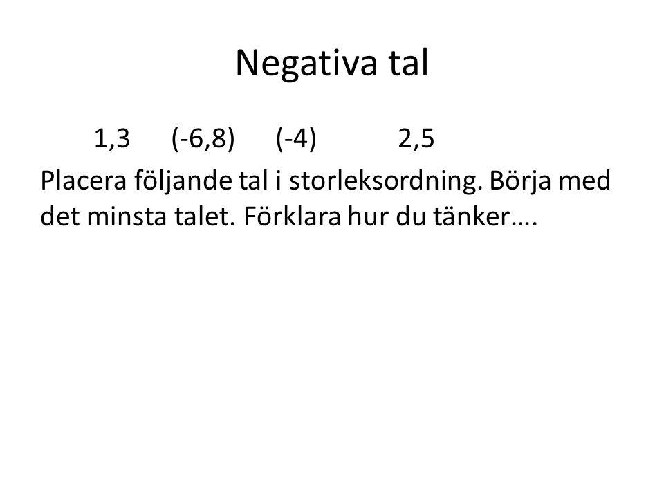 Negativa tal 1,3 (-6,8) (-4) 2,5 Placera följande tal i storleksordning. Börja med det minsta talet. Förklara hur du tänker….