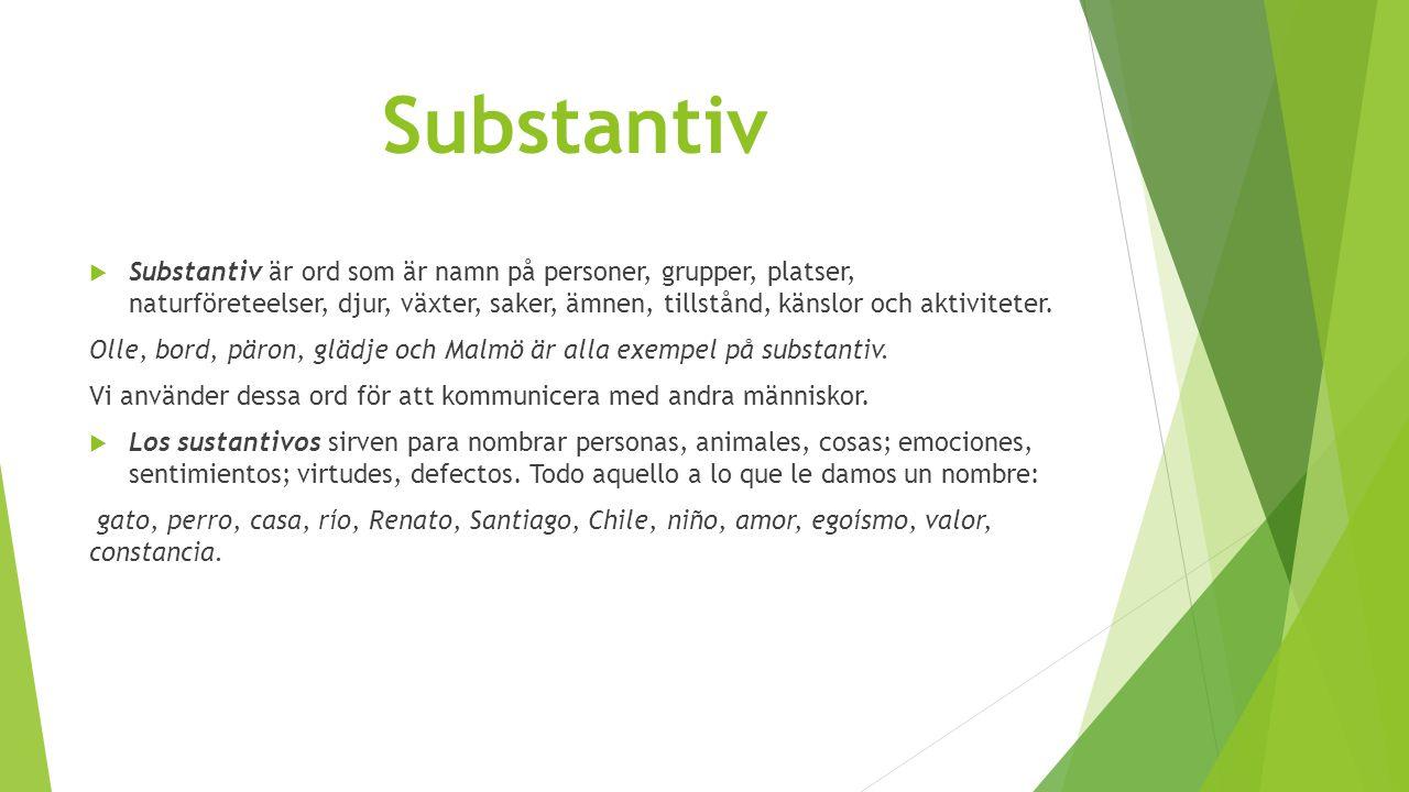 Substantiv  Substantiv är ord som är namn på personer, grupper, platser, naturföreteelser, djur, växter, saker, ämnen, tillstånd, känslor och aktiviteter.