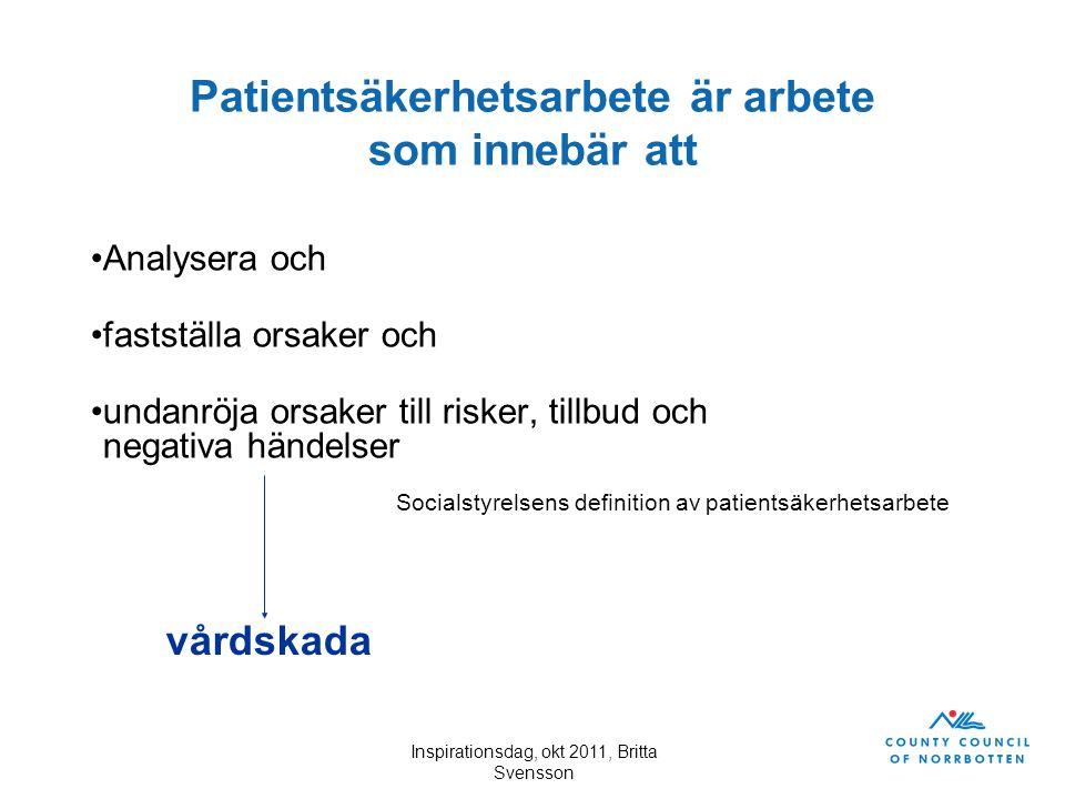 Inspirationsdag, okt 2011, Britta Svensson Patientsäkerhetsarbete är arbete som innebär att Analysera och fastställa orsaker och undanröja orsaker til
