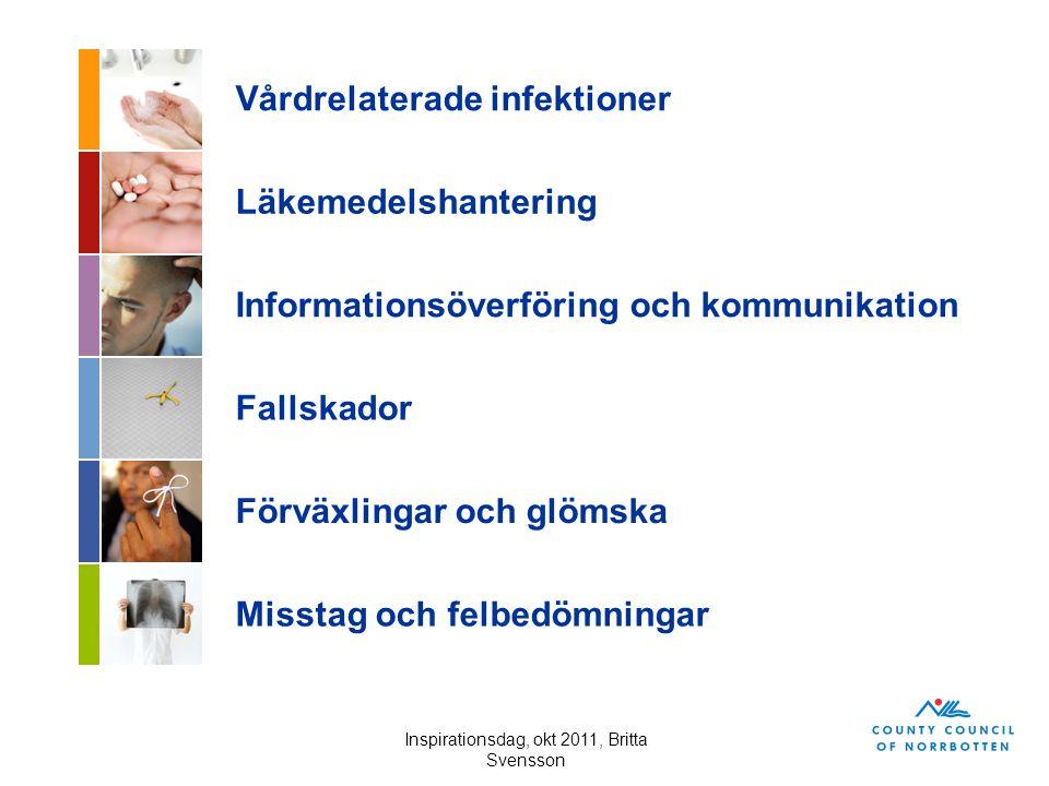 Inspirationsdag, okt 2011, Britta Svensson Vårdskadebegreppet Vårdskada = lidande, kroppslig eller psykisk skada eller sjukdom samt dödsfall som hade kunnat undvikas om adekvata åtgärder hade vidtagits vid patientens kontakt med hälso- och sjukvården Allvarlig vårdskada = vårdskada som är 1) bestående och inte ringa, eller 2) har lett till att patienten fått ett väsentligt ökat vårdbehov eller avlidit Patientsäkerhetslagen SFS 2010:659 1 kap, 5 §