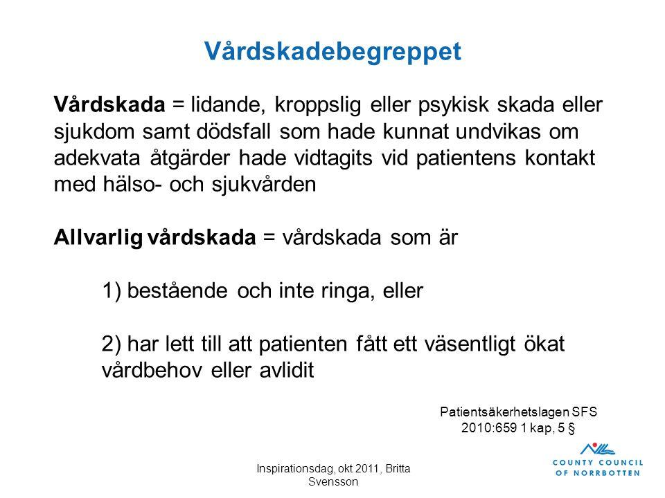 Inspirationsdag, okt 2011, Britta Svensson Vårdskadebegreppet Vårdskada = lidande, kroppslig eller psykisk skada eller sjukdom samt dödsfall som hade
