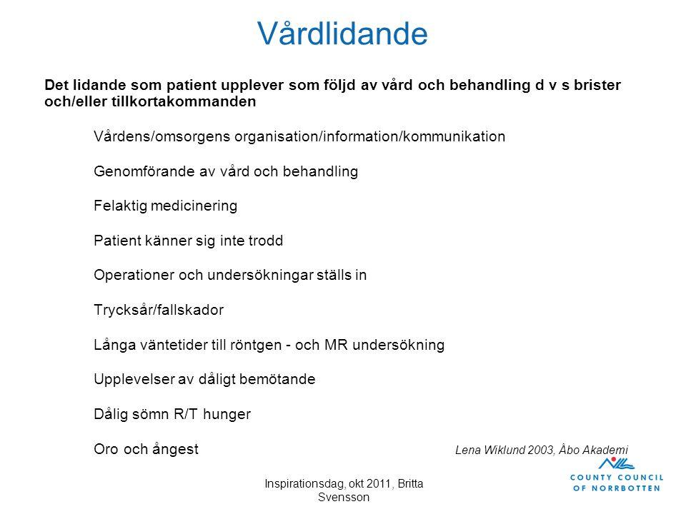 Inspirationsdag, okt 2011, Britta Svensson Vårdlidande Det lidande som patient upplever som följd av vård och behandling d v s brister och/eller tillk