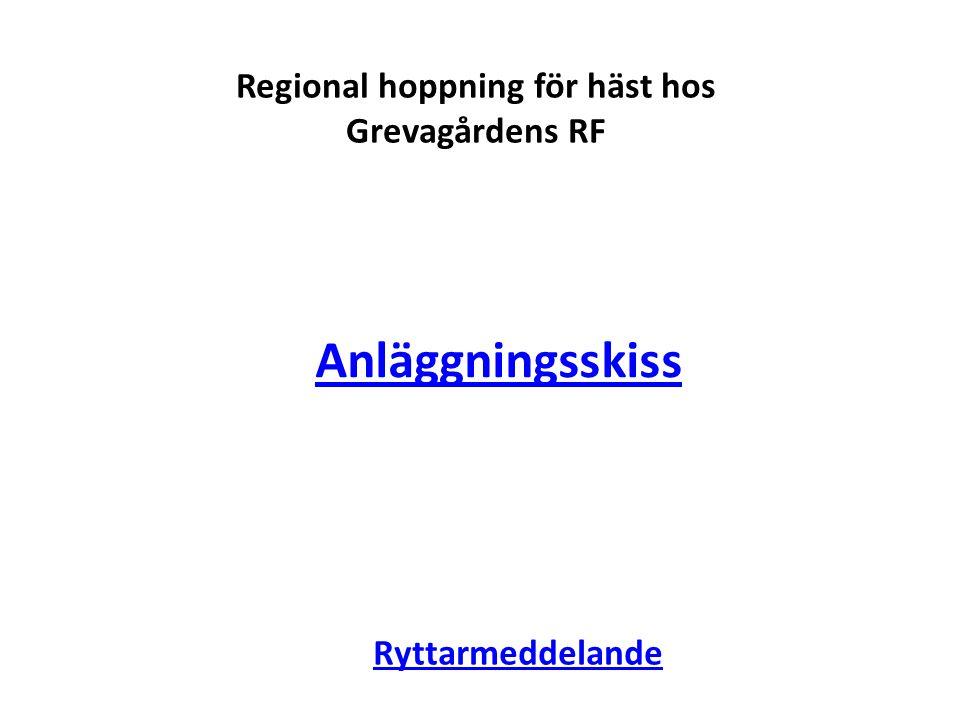 Regional hoppning för häst hos Grevagårdens RF Ryttarmeddelande Anläggningsskiss