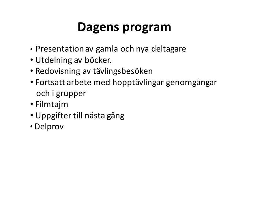 Dagens program Presentation av gamla och nya deltagare Utdelning av böcker.