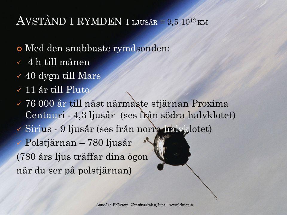 A VSTÅND I RYMDEN 1 LJUSÅR = 9,5∙10 12 KM Med den snabbaste rymdsonden: 4 h till månen 40 dygn till Mars 11 år till Pluto 76 000 år till näst närmaste