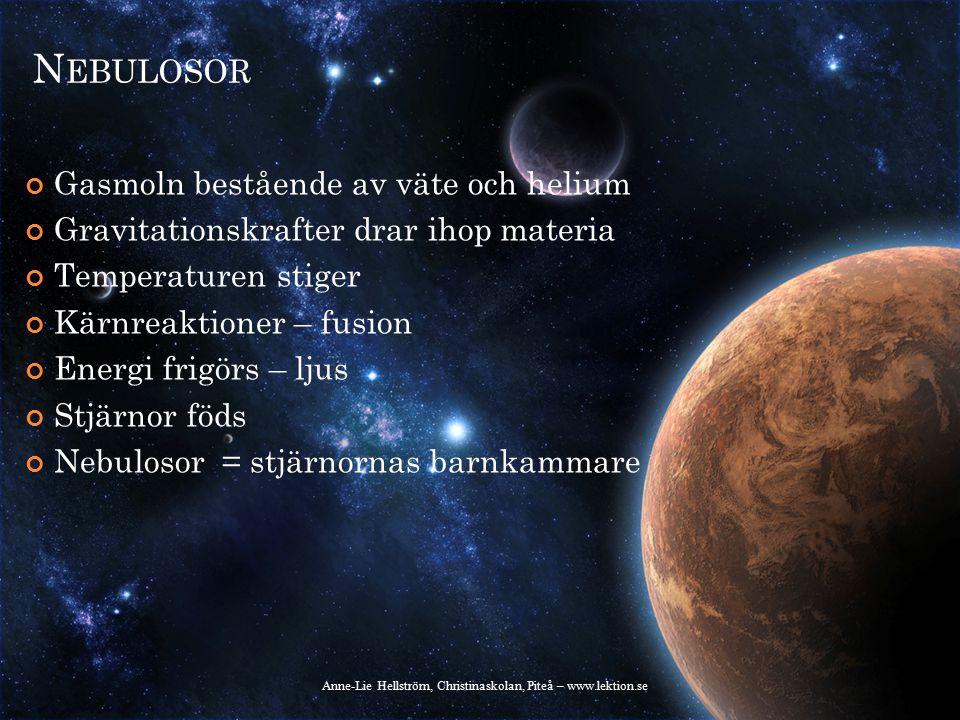 L ITE MER OM NEBULOSOR Orion-nebulosan kan ses ovanför Orions bälte Trots att den bara består av gas har den en enorm massa (ungefär som 100 solar) Anne-Lie Hellström, Christinaskolan, Piteå – www.lektion.se