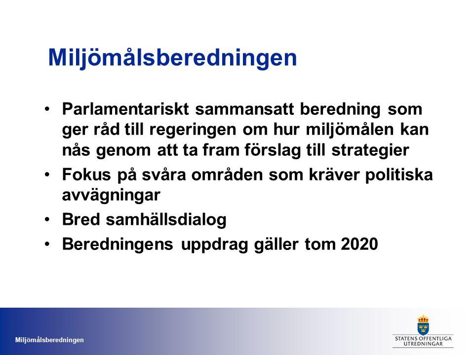 Miljömålsberedningen Beredningens arbete hittills Förslag till handlingsplan för att ta fram strategier under 2011-2014: –Långsiktigt hållbar markanvändning med landskapsfokus –En sammanhållen vattenpolitik –Sveriges internationella arbete för giftfri miljö, inkl.