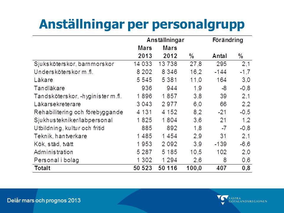 Delår mars och prognos 2013 Anställningar per personalgrupp