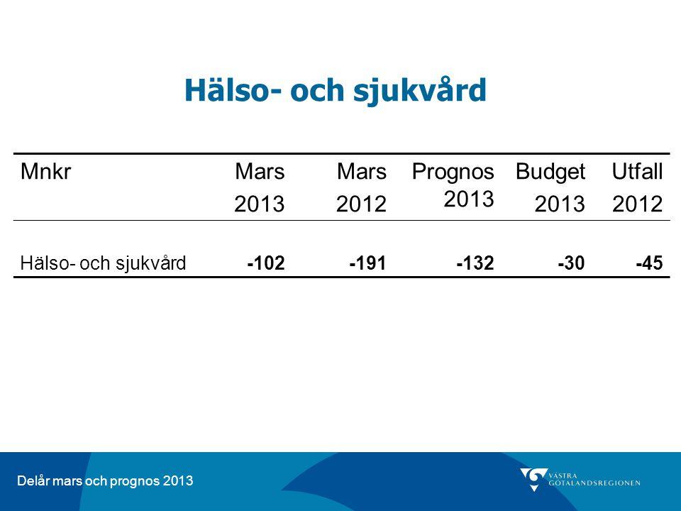 Delår mars och prognos 2013 Hälso- och sjukvård MnkrMars 2013 Mars 2012 Prognos 2013 Budget 2013 Utfall 2012 Hälso- och sjukvård -102-191-132-30-45