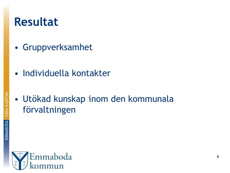 Resultat Gruppverksamhet Individuella kontakter Utökad kunskap inom den kommunala förvaltningen 4