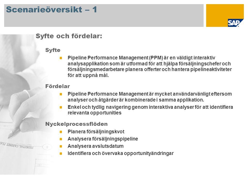 Scenarieöversikt – 1 Syfte Pipeline Performance Management (PPM) är en väldigt interaktiv analysapplikation som är utformad för att hjälpa försäljningschefer och försäljningsmedarbetare planera offerter och hantera pipelineaktiviteter för att uppnå mål.