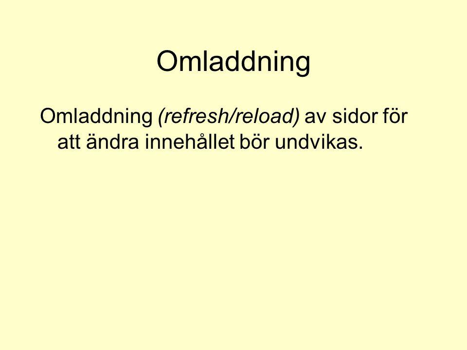 Omladdning Omladdning (refresh/reload) av sidor för att ändra innehållet bör undvikas.