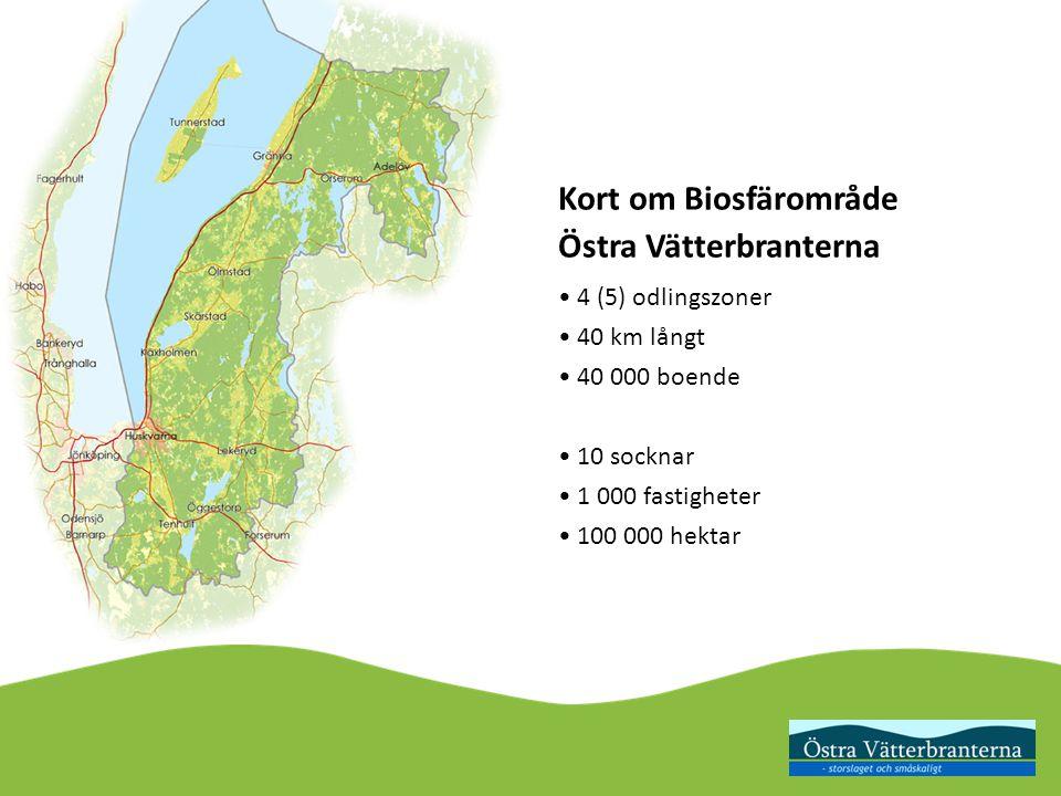 Kort om Biosfärområde Östra Vätterbranterna 4 (5) odlingszoner 40 km långt 40 000 boende 10 socknar 1 000 fastigheter 100 000 hektar