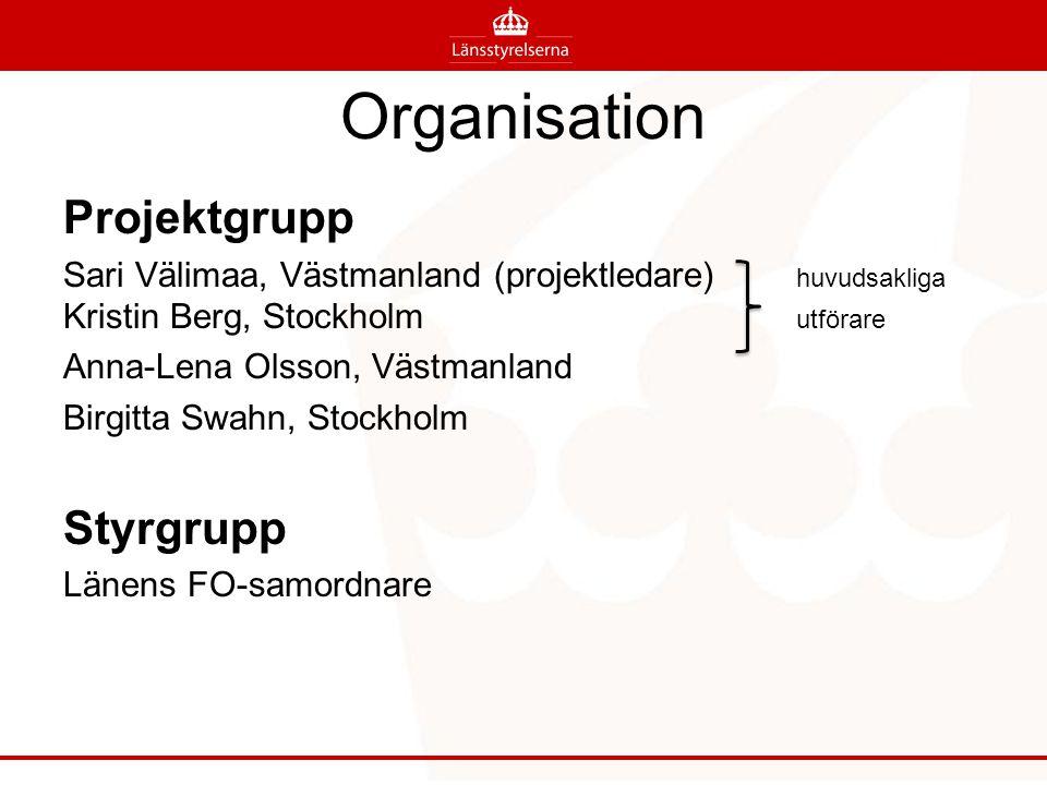 Organisation Projektgrupp Sari Välimaa, Västmanland (projektledare) huvudsakliga Kristin Berg, Stockholm utförare Anna-Lena Olsson, Västmanland Birgitta Swahn, Stockholm Styrgrupp Länens FO-samordnare