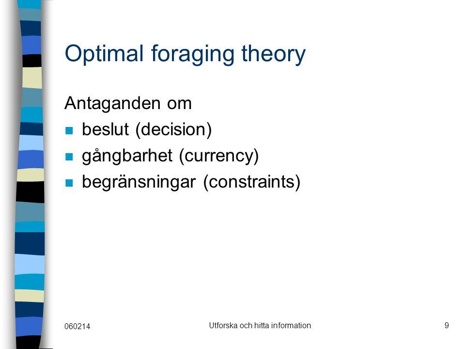 060214 Utforska och hitta information9 Optimal foraging theory Antaganden om beslut (decision) gångbarhet (currency) begränsningar (constraints)