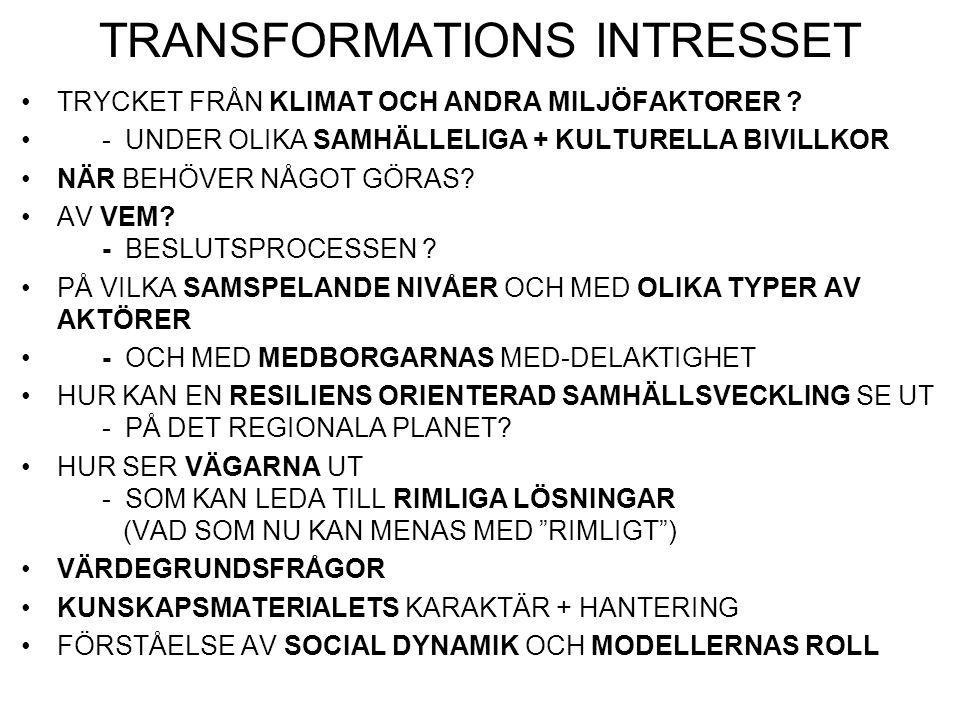 TRANSFORMATIONERNAS UTMANINGAR TRANSFORMATIONER BLIR NÖDVÄNDIGA – MEN HUR KOMMER DE ATT SE UT.