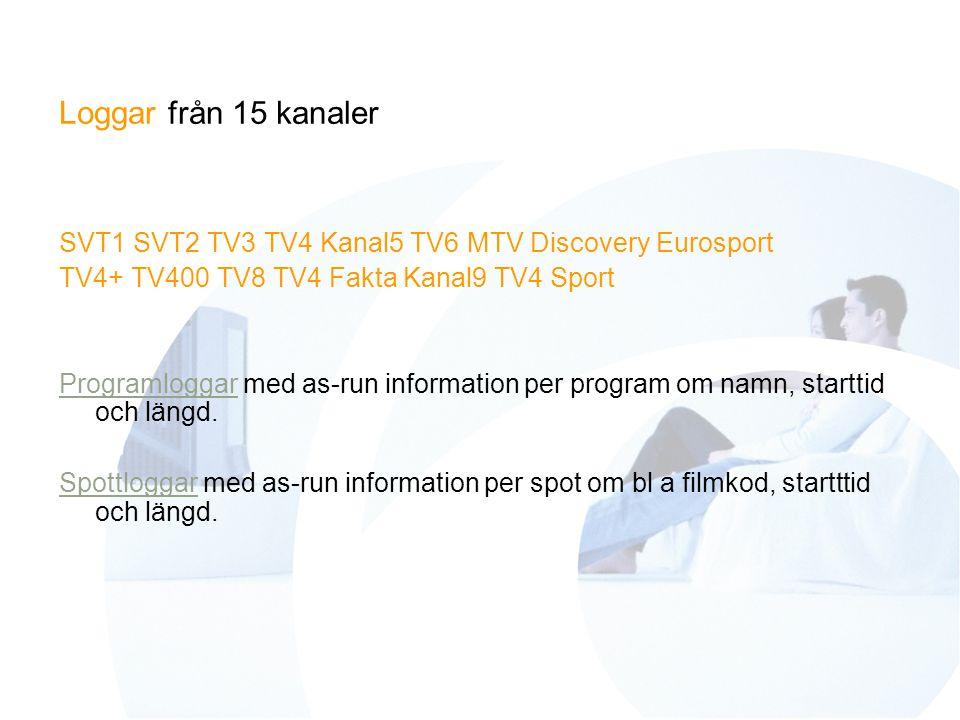Loggar från 15 kanaler SVT1 SVT2 TV3 TV4 Kanal5 TV6 MTV Discovery Eurosport TV4+ TV400 TV8 TV4 Fakta Kanal9 TV4 Sport ProgramloggarProgramloggar med as-run information per program om namn, starttid och längd.