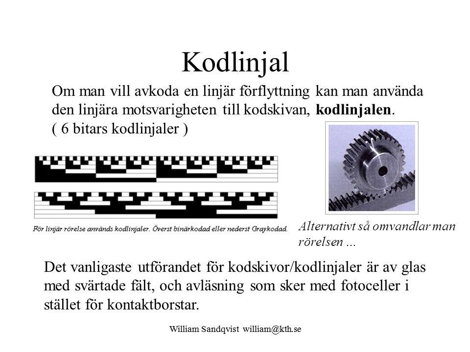 William Sandqvist william@kth.se Binärkoden Om en kodskiva (eller kodlinjal) med fyra bitars binärkod befinner sig mitt emellan två binärkodade kodord, tex.