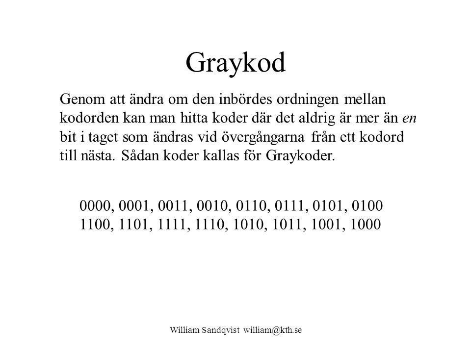 William Sandqvist william@kth.se Graykod Genom att ändra om den inbördes ordningen mellan kodorden kan man hitta koder där det aldrig är mer än en bit i taget som ändras vid övergångarna från ett kodord till nästa.