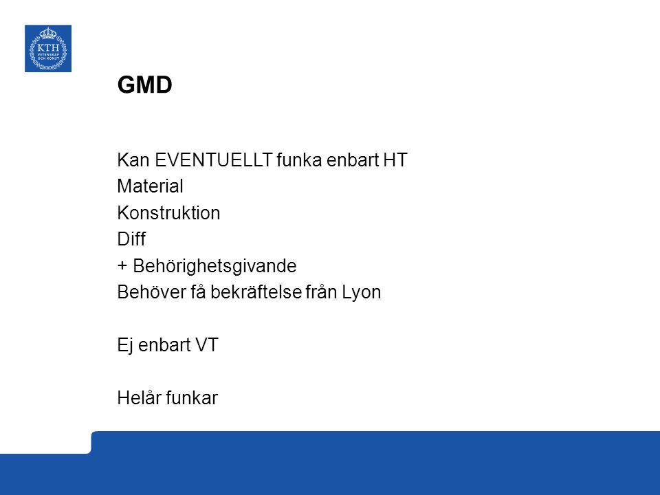 GMD - behörighetsgivande Programmeringskurs – byt mot DD1320, läs DD1324 på KTH (DD1321 = DD1320+DD1324) FEM finns Strömningsmekanik finns (HT eller VT) Regler finns Värmeöverföring (VT)