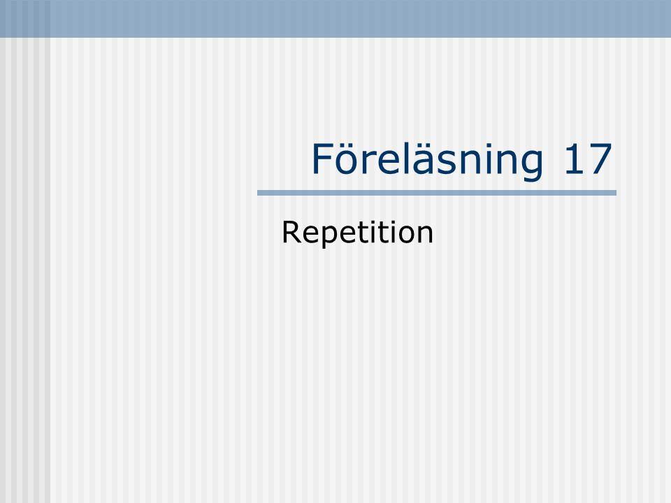 Reglerar hur ett objekt ska skapas Initierar normalt klassens fält Saknar returtyp Har samma namn som klassen Eventuellt parametrar Konstruktorn public Punkt()