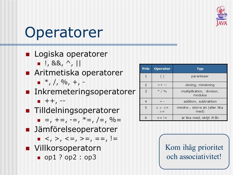 Operatorer Logiska operatorer !, &&, ^, || Aritmetiska operatorer *, /, %, +, - Inkremeteringsoperatorer ++, -- Tilldelningsoperatorer =, +=, -=, *=,