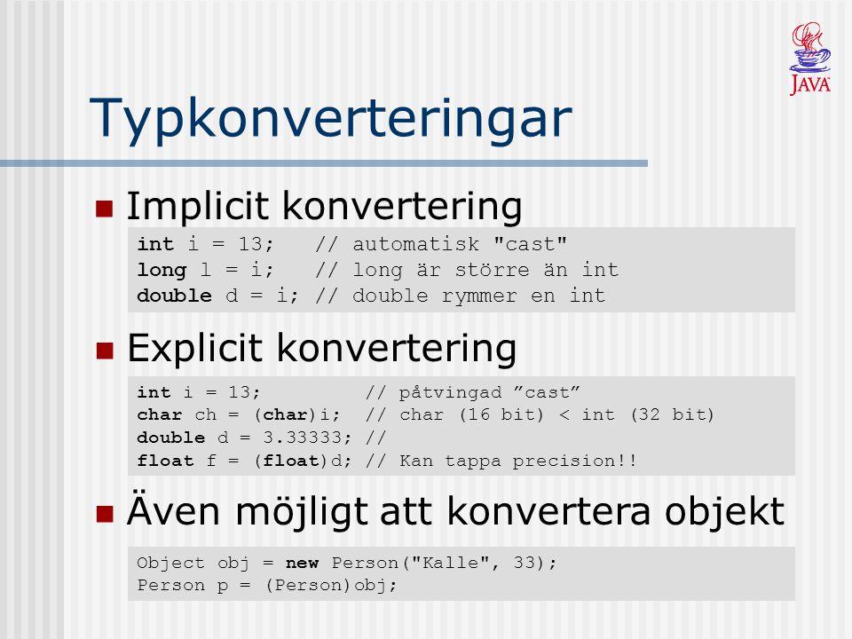 Typkonverteringar Implicit konvertering int i = 13; // automatisk