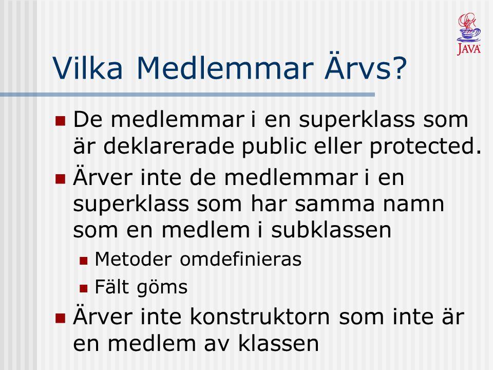 Vilka Medlemmar Ärvs. De medlemmar i en superklass som är deklarerade public eller protected.