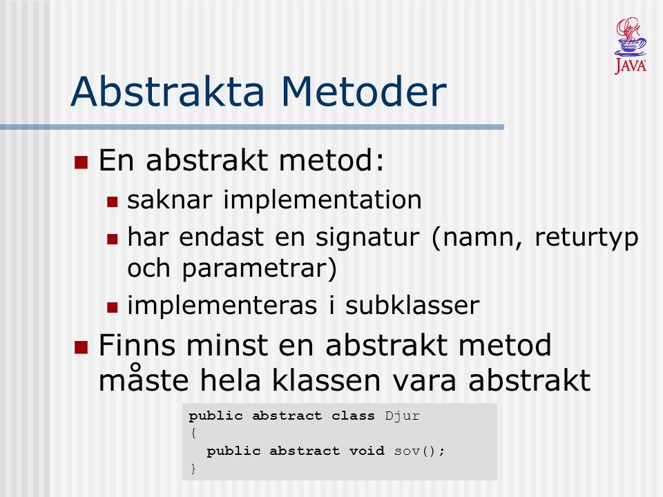 Abstrakta Metoder En abstrakt metod: saknar implementation har endast en signatur (namn, returtyp och parametrar) implementeras i subklasser Finns minst en abstrakt metod måste hela klassen vara abstrakt public abstract class Djur { public abstract void sov(); }