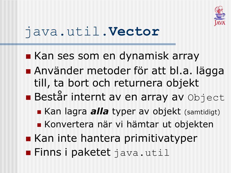 java.util.Vector Kan ses som en dynamisk array Använder metoder för att bl.a.