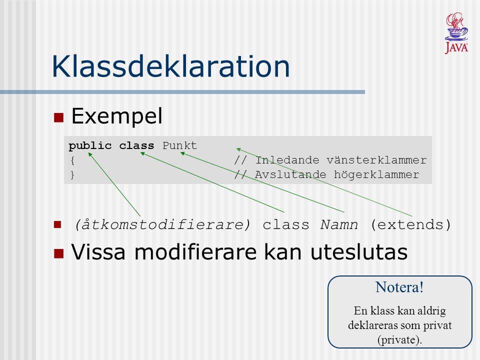 public class Punkt { // Inledande vänsterklammer } // Avslutande högerklammer Klassdeklaration Exempel Notera.