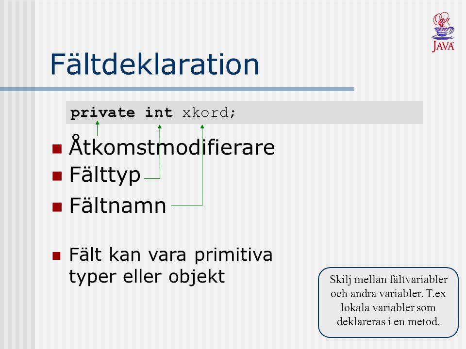 private int xkord; Fältdeklaration Åtkomstmodifierare Skilj mellan fältvariabler och andra variabler.
