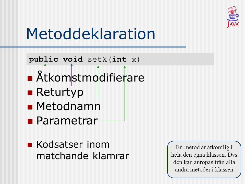 public void setX(int x) Metoddeklaration En metod är åtkomlig i hela den egna klassen.
