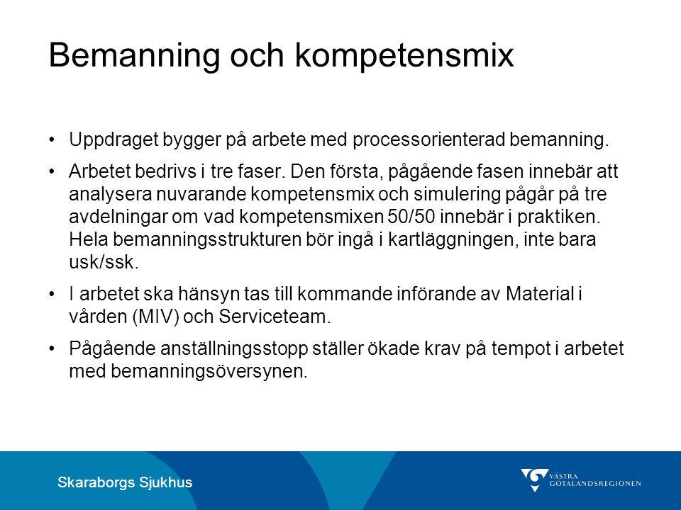 Skaraborgs Sjukhus Bemanning och kompetensmix Uppdraget bygger på arbete med processorienterad bemanning. Arbetet bedrivs i tre faser. Den första, påg