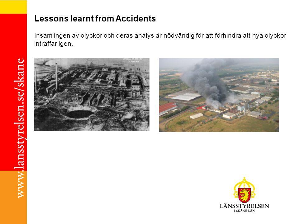 Lessons learnt from Accidents Insamlingen av olyckor och deras analys är nödvändig för att förhindra att nya olyckor inträffar igen.