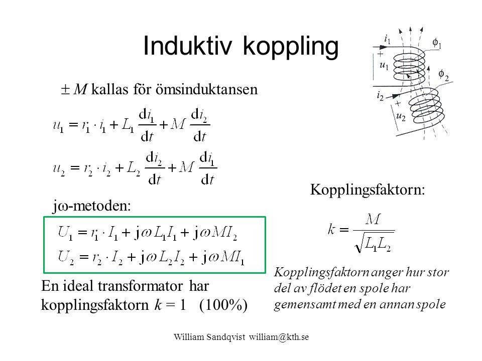 Induktiv koppling William Sandqvist william@kth.se j  -metoden:  M kallas för ömsinduktansen Kopplingsfaktorn: Kopplingsfaktorn anger hur stor del a