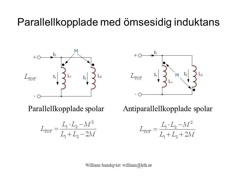 Parallellkopplade med ömsesidig induktans William Sandqvist william@kth.se Parallellkopplade spolarAntiparallellkopplade spolar