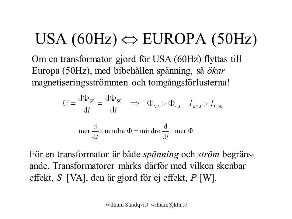 William Sandqvist william@kth.se USA (60Hz)  EUROPA (50Hz) Om en transformator gjord för USA (60Hz) flyttas till Europa (50Hz), med bibehållen spänni
