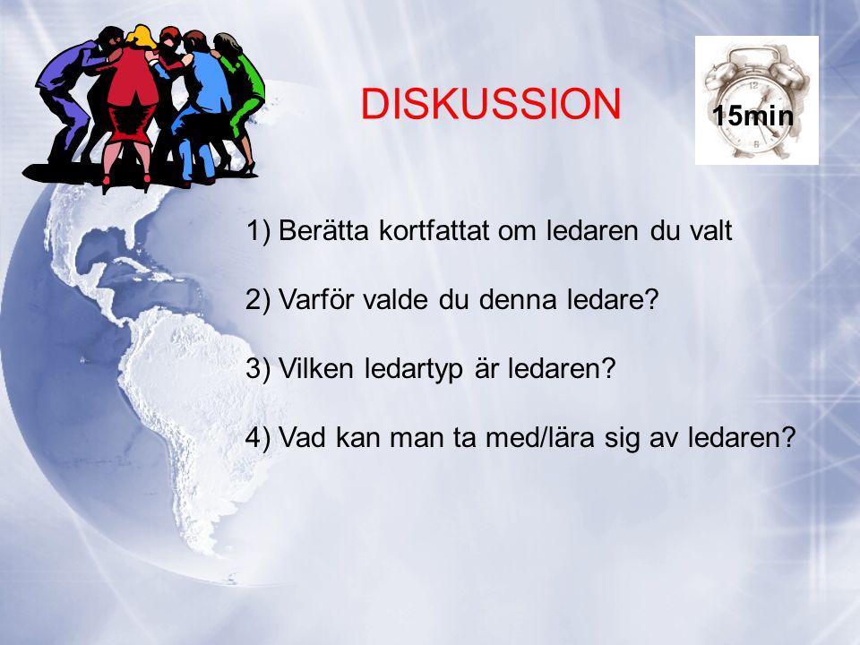 DISKUSSION 1) Berätta kortfattat om ledaren du valt 2) Varför valde du denna ledare.